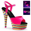 DELIGHT-609RBS Neon Hot Pink/Mullti Rhinestone